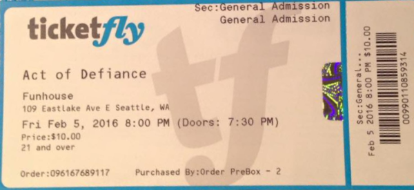 act of defiance - Tix
